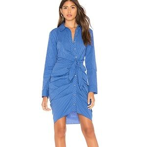 1 state Button Down ruched Shirt Dress in Blue